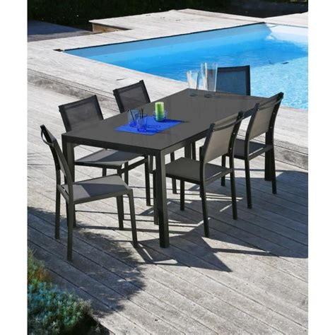 table de jardin cdiscount ensemble table de jardin 160 6 chaises aluminium gris achat vente salon de jardin table