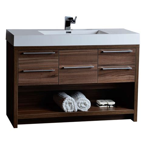 walnut vanity 47 quot modern bathroom vanity set walnut finish tn l1200 wn