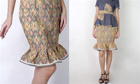 Dayak Hitam Sepatu Batik Handmade bawahan dan rok batik yang pas untuk busana kantor