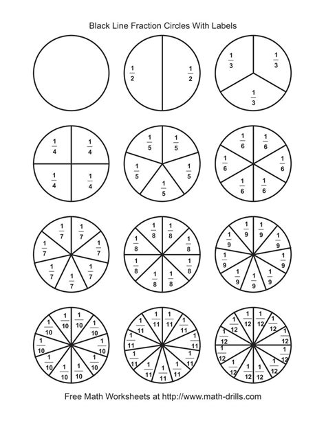 Blackline Fraction Circles -- Small Labeled