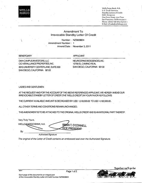 Bank Letter Of Credit Form Neurocrine Biosciences Inc Form 8 K Ex 99 3 Letter Of Credit January 18 2012