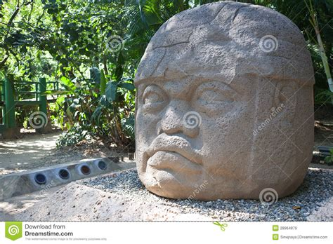 ancient olmec head la venta royalty  stock images