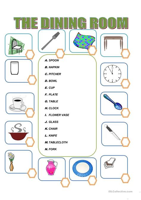 Things You Find In A Dining Room In Furniture In The Dining Room Worksheet Free Esl