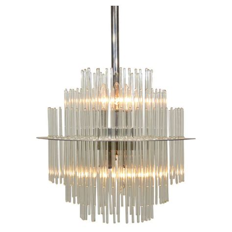 Glass Rod Chandelier By Sciolori For Lightolier For Sale Glass Rod Chandelier
