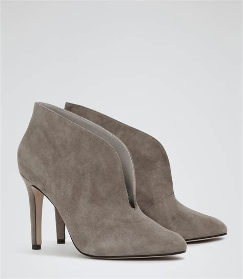 lola grey open front shoe boots reiss