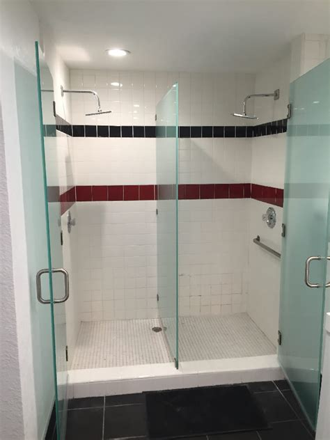 locker room shower stalls frosted glass shower enclosure patriot glass and mirror san diego ca