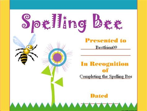 spelling bee certificate template certificate maker smileyface46