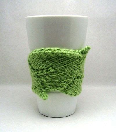 leaf pattern in coffee leaf shaped knit coffee cozy pdf pattern knits and