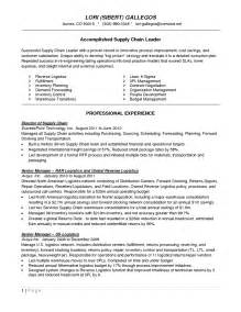 resume sles for supply chain management resume in logistics and supply chain management sales