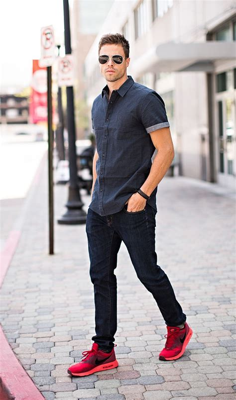 casual sleeve shirt sneakers
