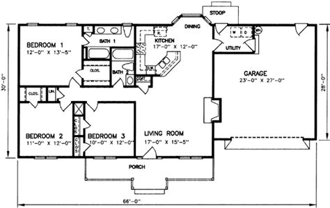 3 bedroom 2 bath ranch floor plans ranch style house plans 1334 square foot home 1 story