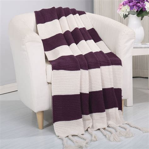 Vintage Blankets And Throws by Vintage Knitted Striped 50x60 Throw Blanket Ebay