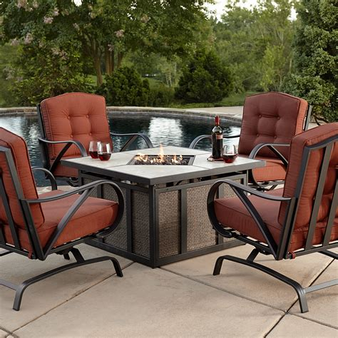 patio furniture sets with pit grand resort oak hill 5pc cushion firepit chat set