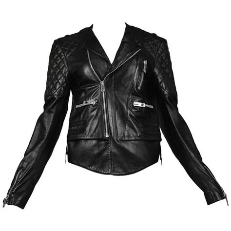 balenciaga black quilted leather moto jacket for sale at