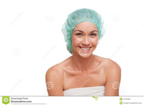 Bathtub Renew Smiling Woman In Shower Cap Royalty Free Stock Images