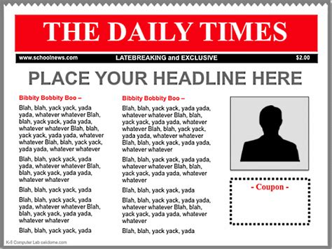 newpaper card ad templates keynote newspaper templates k 5 computer lab