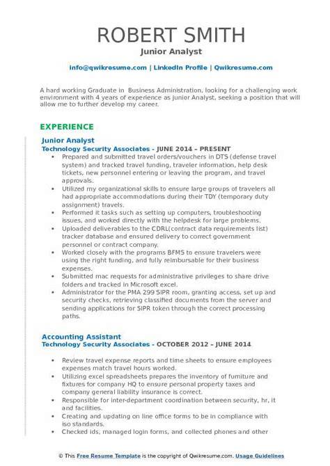 Junior Database Analyst Resume by Junior Analyst Resume Sles Qwikresume