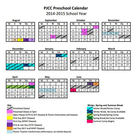 preschool monthly calendar template preschool calendar templates 8 free documents