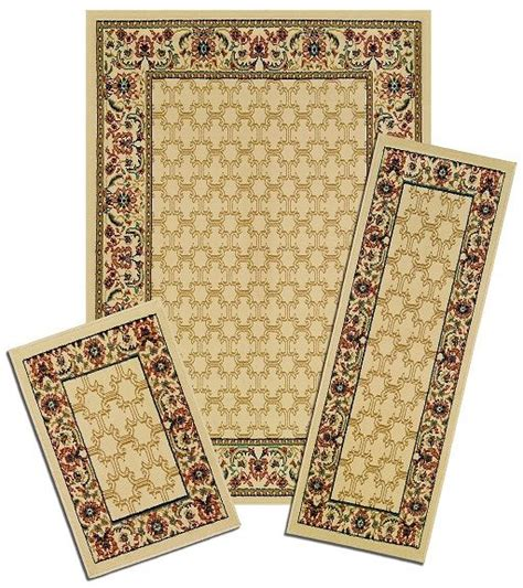 area rug and runner sets traditional accent mat runner area rug 3 set floral border carpet ebay