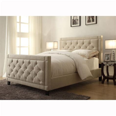 natural linen queen size button tufted upholstered bed  handcrafted   ultimate