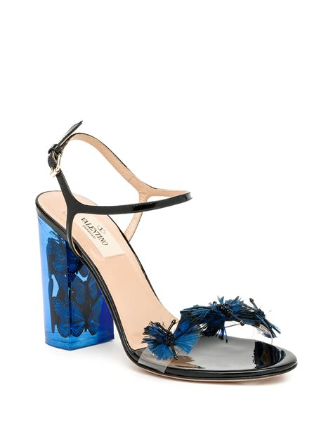 acrylic sandals valentino butterfly lucite heel sandals in blue lyst