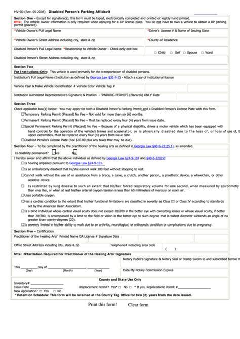 Fillable Form Mv 90 Disabled Person S Parking Affidavit Printable Pdf Download Parking Permit Form Template