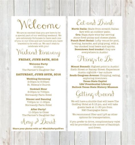 Destination Wedding Invitation Letter Welcome Letter Weekend Itinerary Wedding Itinerary Gold Welcome Letter Destination Wedding