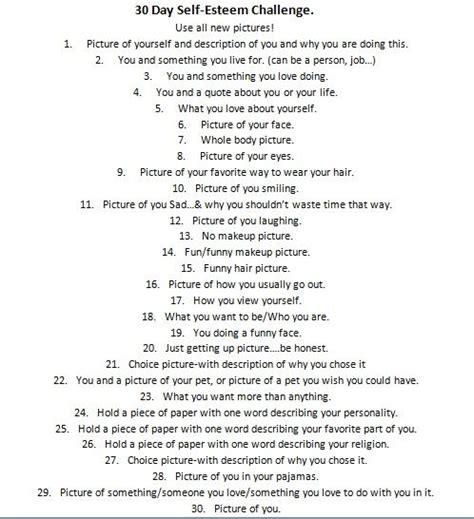 self challenge 30 day self esteem challenge