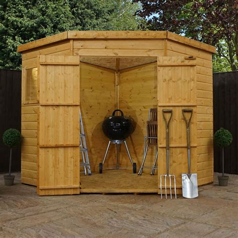 shiplap corner wooden garden shed double door pent