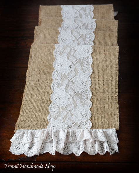 Burlap Table Runner With Lace by Burlap And Lace Table Runner 12x73 By Teomil On Etsy