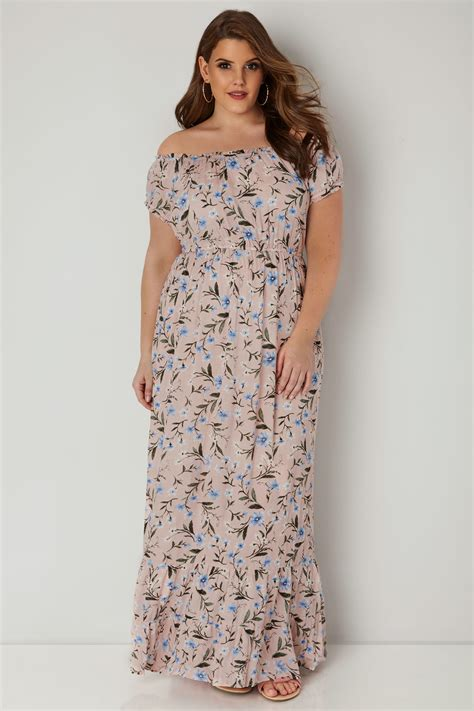And Color Icon Blush Chagne Blushon Blush On light pink floral maxi dress plus size 16 to 36