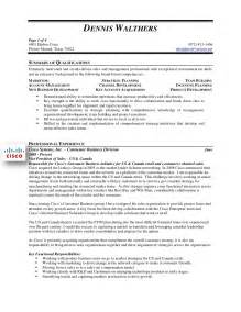 Vp Resume Sles by Dennis Walthers Vp Sales Resume
