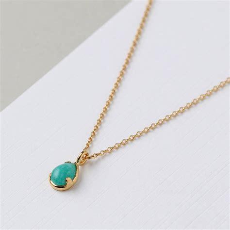 semi precious amazonite pendant necklace by orelia