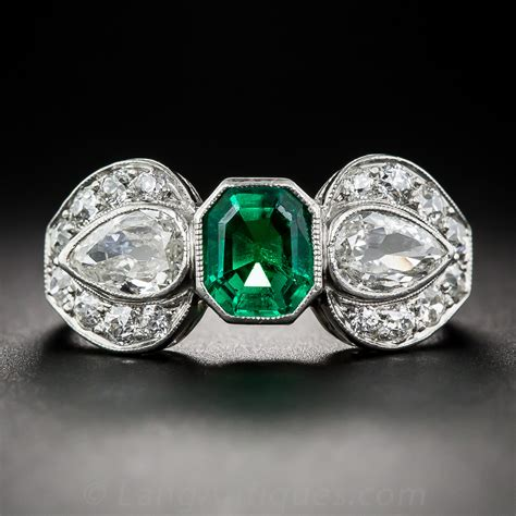 deco emerald and ring vintage gemstone