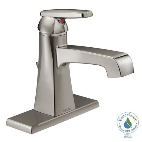 delta ashlyn single hole single handle bathroom faucet  metal drain assembly  stainless