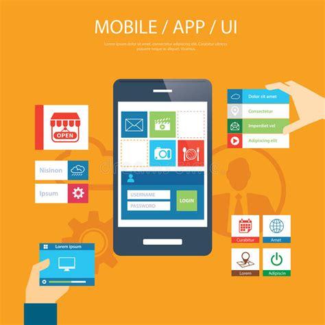 mobile application design vector mobile app and ui element flat design stock vector image