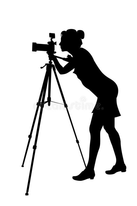 Silhouette Of Woman-photographer And Tripod Stock