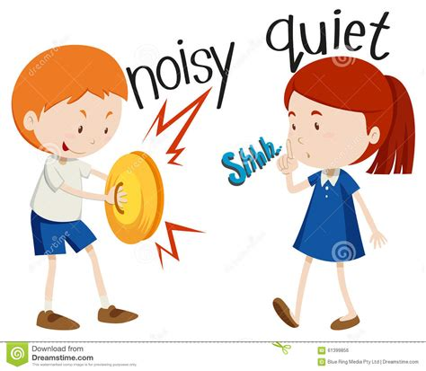 1449486061 quiet girl in a noisy opposite adjectives dry and wet vector illustration