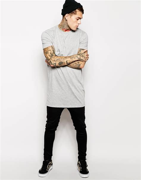 Tshirt Photography Desain Photography 16 lyst asos longline t shirt with relaxed skater fit in gray for