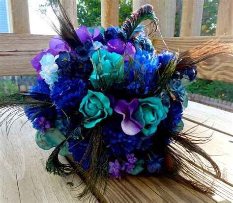 purple green blue peacock wedding broach bouquet by peacock bridal bouquet teal purple blue bridal bouquet with
