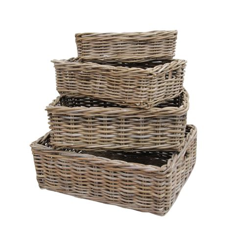rattan baskets rectangular grey buff rattan storage baskets