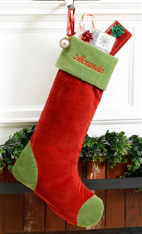 unique christmas stockings red velvet personalized christmas stocking with green cuff