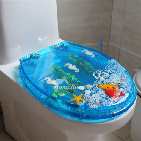 decorative blue toilet seat resin upmount oval shaped cushion