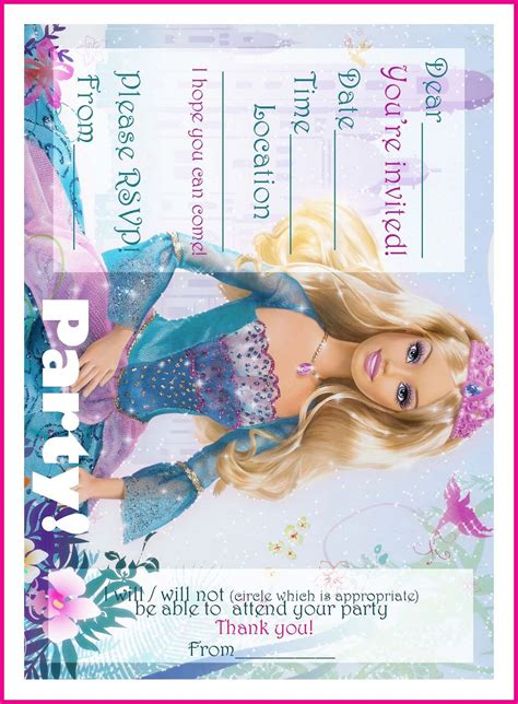 free printable birthday invitations barbie barbie coloring pages free printable princess barbie