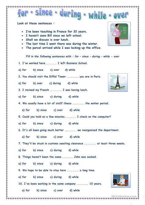 since for worksheet for since during while worksheet free esl printable worksheets made by teachers