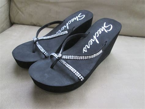Wedges Import Wommen 6107w Htpt skechers womens wedge flip flops black with rhinestones