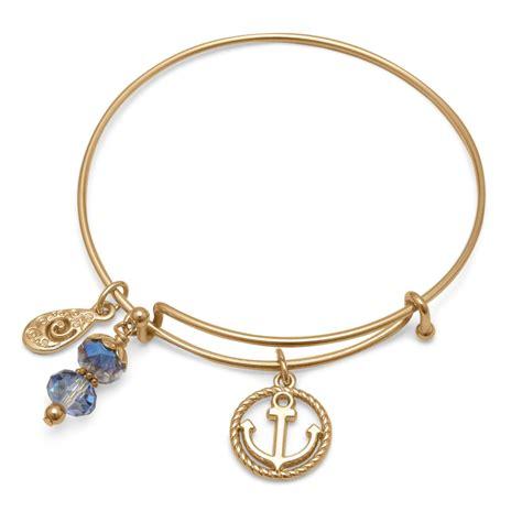 gold nautical anchor expandable bangle bracelet