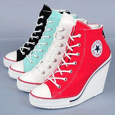 converse wedge high heels womens canvas zip wedge sneakers lace up high heel us 5 8