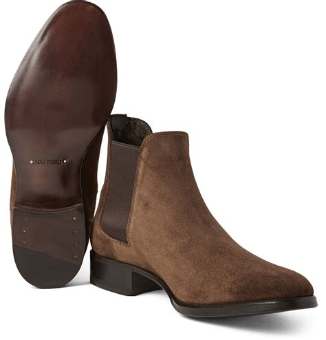 tom ford suede chelsea boots in brown for lyst