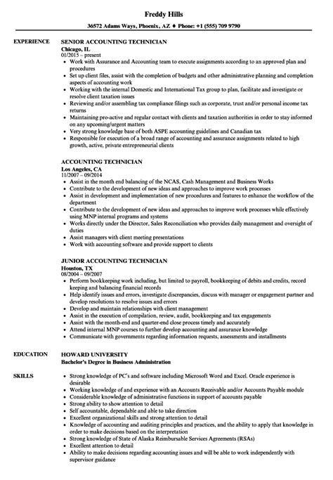 accounting technician resume sles velvet